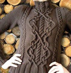 Пуловер с арановым узором связан спицами. Пуловер связан из пряжи, приятного шоколадного цвета. Араны обычно выглядят красиво, когда они связаны на изнаночном полотне. Данный пуловер имеет высокий воротник и длинные рукава. Резинка у пуловера широкая. Если в вашем изделии присутствует узор из аранов, то такое изделие следует вязать не слишком толстыми спицами, номер спиц не должен превышать цифру 3. В противном случае арановый узор получится слишком крупный и это не добавит изделию…