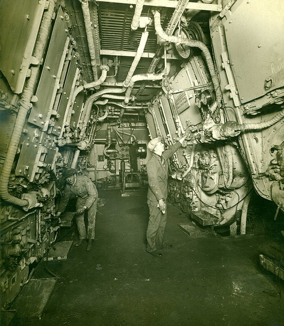 Men at Work - Mauretania by Tyne & Wear Archives & Museums, via Flickr.   Boiler room after the conversion to oil burning, 1921.    RMS MAURETANIA was one of the most famous ships ever built on Tyneside.