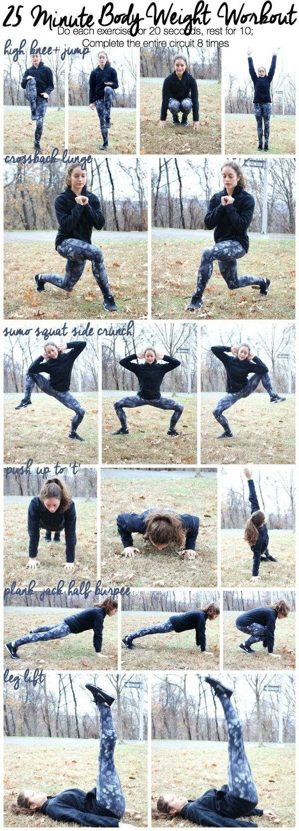25 Minute Body Weight Workout | No equipment needed to complete these exercises--do this workout at home or at the gym! #workout