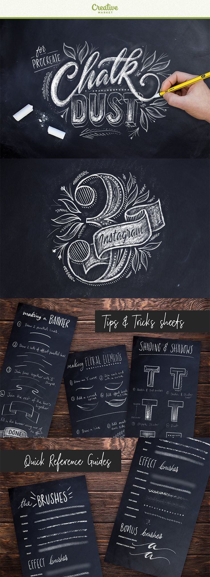 #affiliate #sponsored The Chalk Dust Procreate Lettering Kit features everything you need to create your own stunning chalkboard pieces without getting yourself cover in white dust. This pack has been made using actual chalk textures to give the most realistic looking set of brushes that you'll find for Procreate. You also get a tips and tricks guide sheet to show you how to do things like shadows and shading and drawing elements like banners and floral elements.