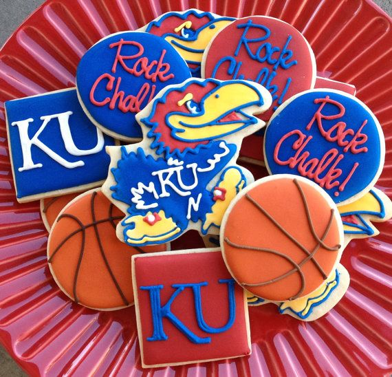 1 DZ Kansas KU Jayhawk Football Basketball Sugar Cookies. $38.00, via Etsy.