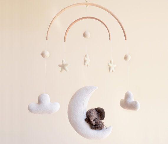 Elephant Crib Baby Mobile   Nursery Decor Baby Shower   Sleeping on Moon Clouds Stars   Travel safari jungle  Nursery   100% Wool Felt