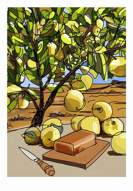 Apunte confiteros y membrillo Print mediano: 42x29,7cm Print grande: 50x70cm Técnica: Ilustración impresa con tintas pigmentadas sobre papel Fine Art #lemon #yellow #gliceé #mediterranean #artwork