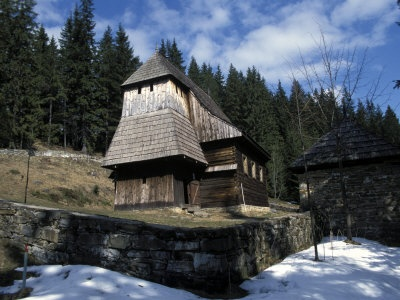 Exterior of Wooden Ruthenian Orthodox Church   in Village of Zuberec, Zilina Region, Slovakia...