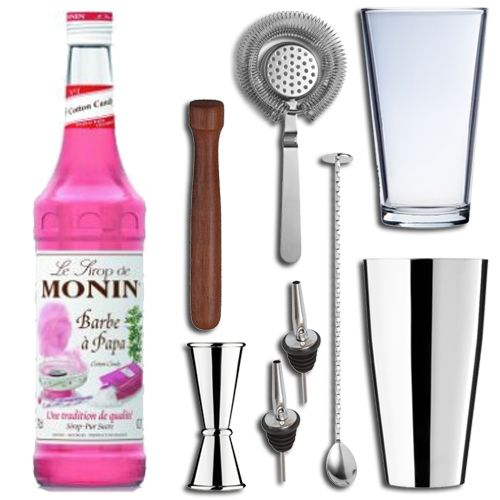<strong>Candy Floss Cocktail Gift Set in Presentation Box- </strong>The perfect gift set for the cocktail lover in your life. This cocktail gift set includes 8 essential items for mixing and shaking cocktails and the perfect bottle of Monin cocktails syrup. The ideal gift which encompasses all the essential accoutrements required to make and shake the perfect Mojito to impress your guests or family members. Ideal for Birthdays, Christmas or any occasion!    <strong>Monin Candy Floss Syrup…