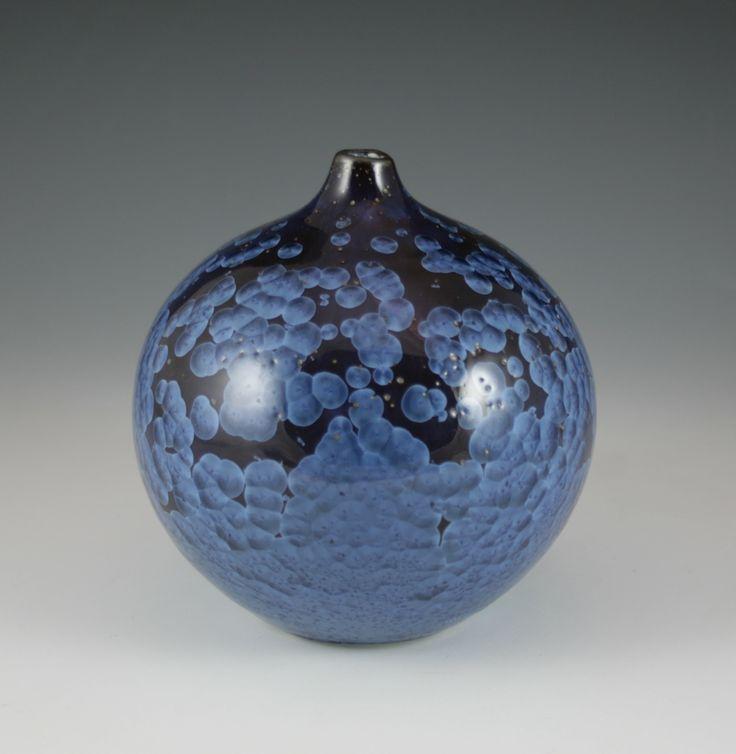 Bjarne Nielsen. Zink-silicate crystalline glaze over a black engobe.