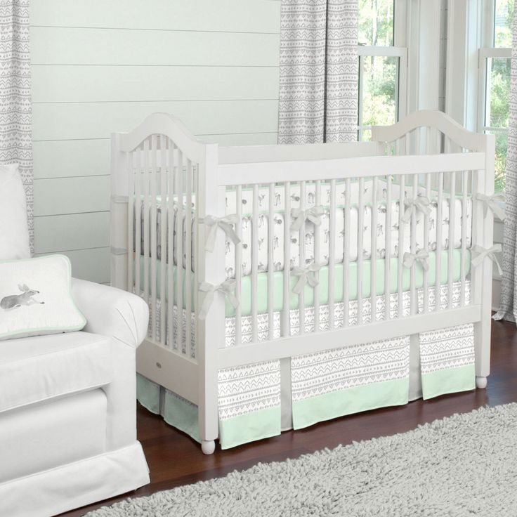 Silver Gray And Mint Fawn Crib Bedding, Gray And Mint Green Baby Bedding