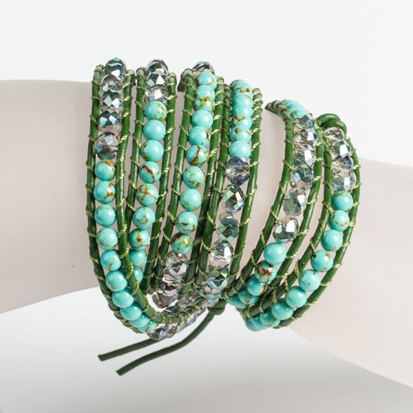 GREEN/TURQUOISE BEADED 5 ROW WRAP #BRACELET JKW5010GR #jacquelinekent #ksajewelry #jacquelinekentjewelry
