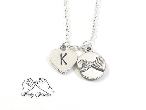 Personalized Pinky Promise Necklace Hand Stamped por koolstuff2