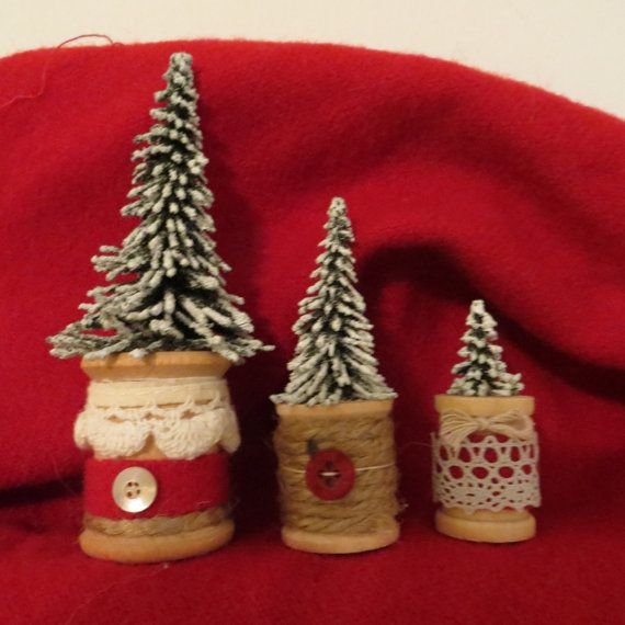 This trio of spool Christmas trees are perfect for a small space that you want to decorate. I started with three wooden vintage thread spools (two still