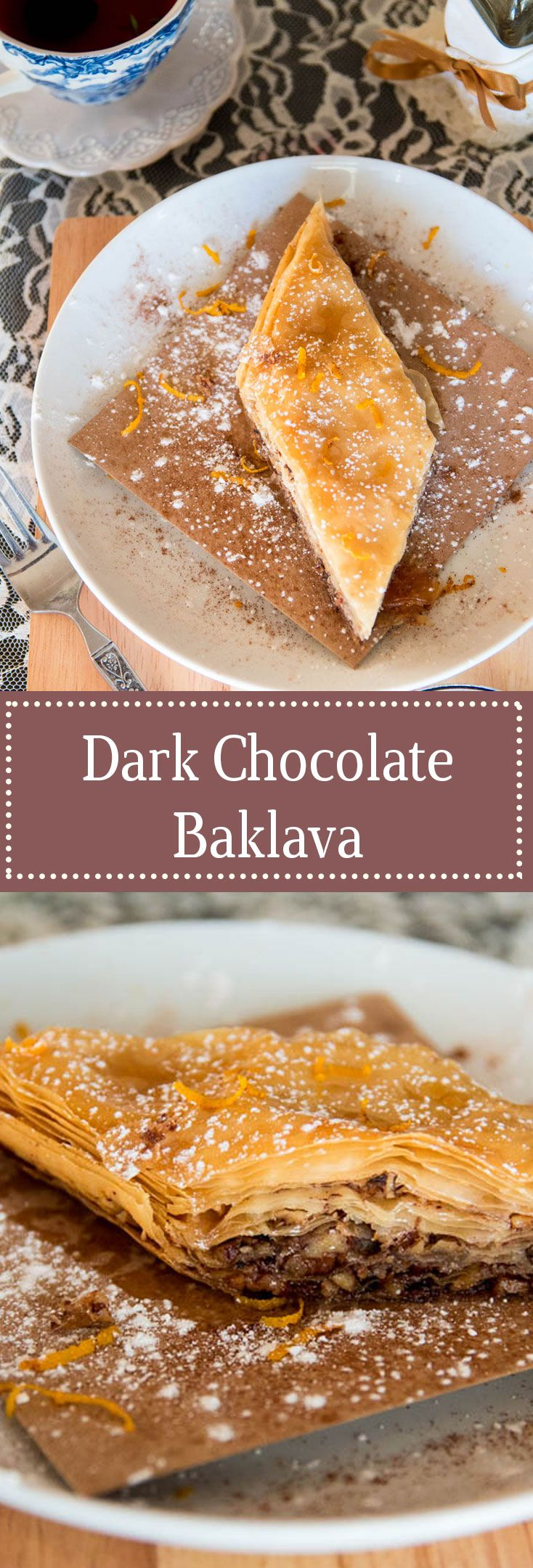 This chocolate Baklava version of the traditional Greek dessert is a cinch to make! Light flaky pastry with honey, chocolate, and nuts.
