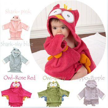 bcd24f4647 New Hooded Shark Hippo Owl Baby Bathrobe Cartoon Baby Towel Character kids  bath robe children s bathrobe 5 colors