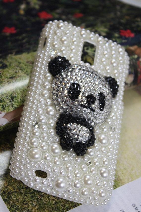 Handmade Charms Bear Pearl Rhinestone Bling Phone Case For BlackBerry 9320 Curve 9320. $26.00, via Etsy.