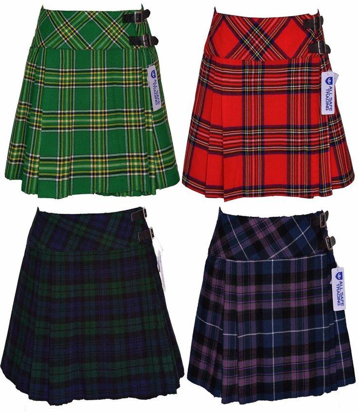 Ladies Womens Tartan Pleated Billie Kilt Skirt Leather Buckled Straps #AllSafe #BillieSkirtKilt