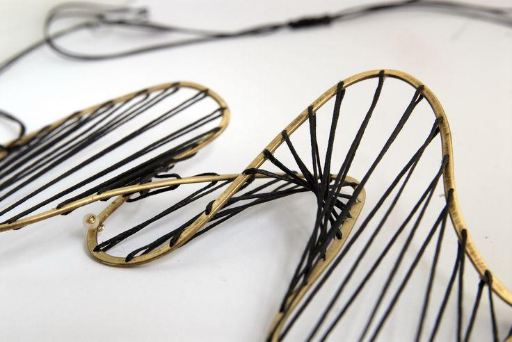 """DNA"",bronze,acrylic cord"
