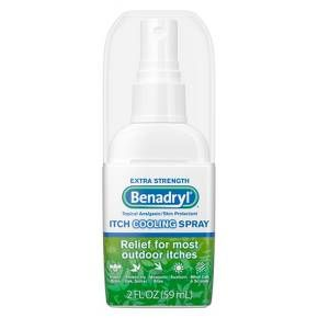 BENADRYL® Extra Strength Itch Cooling Spray provides relief from skin pain and itching. Made with 2% diphenhydramine HCI topical analgesic and 0.1% zinc acetate skin protectant, this spray begins to work on contact to relieve the pain and itching associat