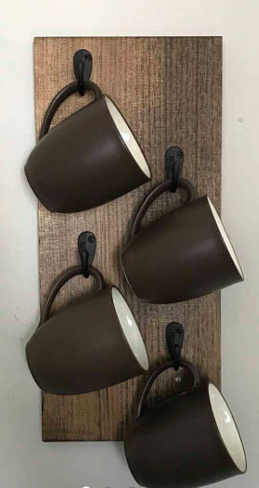 Rustic reclaimed timber wooden mug holder