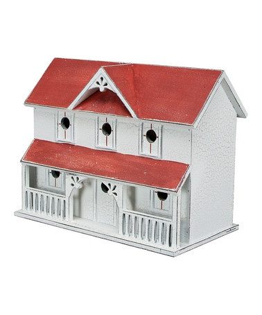 Take a look at this White & Red Farmhouse Birdhouse by Green Thumb: Home & Garden Décor on #zulily today!