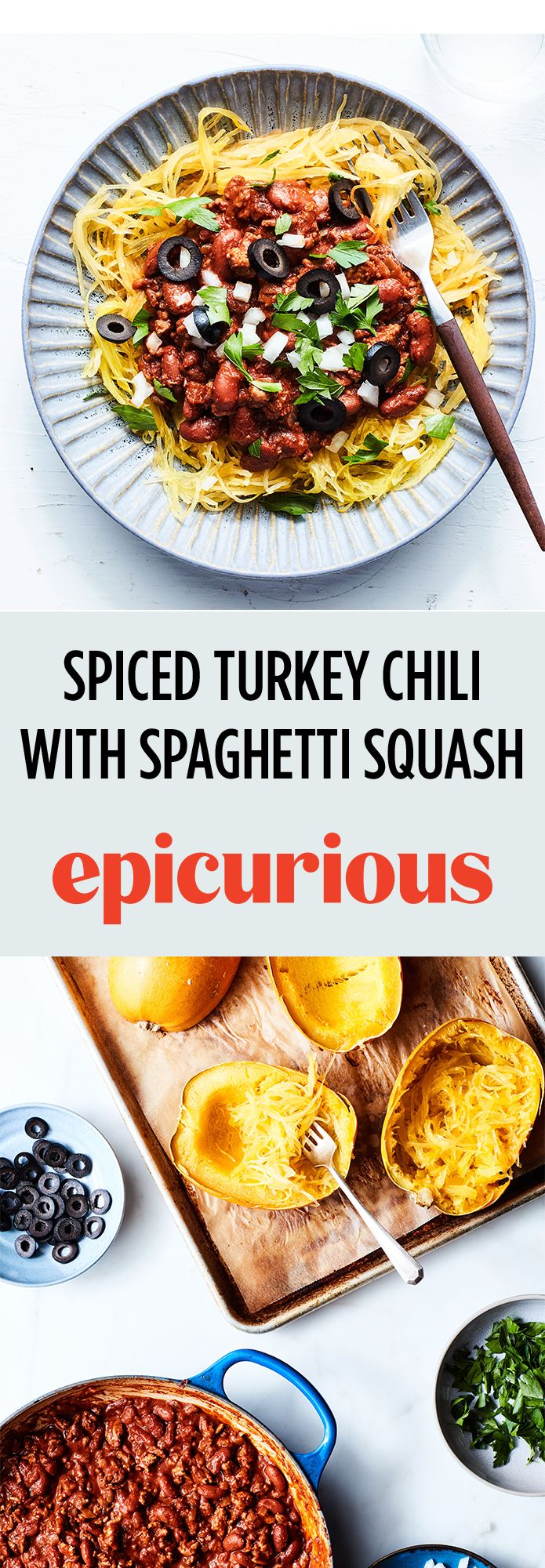 40 best low carb recipes images on pinterest low calorie recipes spiced turkey chili with spaghetti squash recipe epicurious forumfinder Gallery