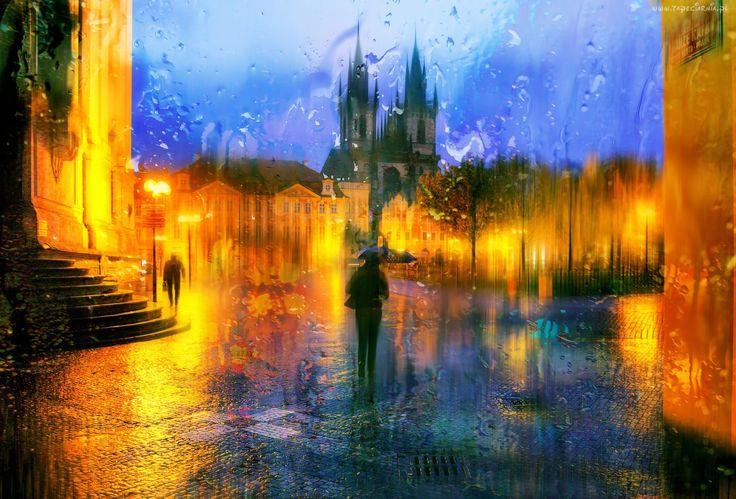 Deszcz, Miasto