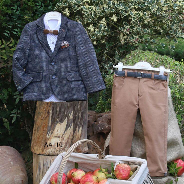 Βαπτιστικό Χειμερινό Κοστούμι Μόκα Παντελόνι Καρό Σακάκι Mi Chiamo Α4110