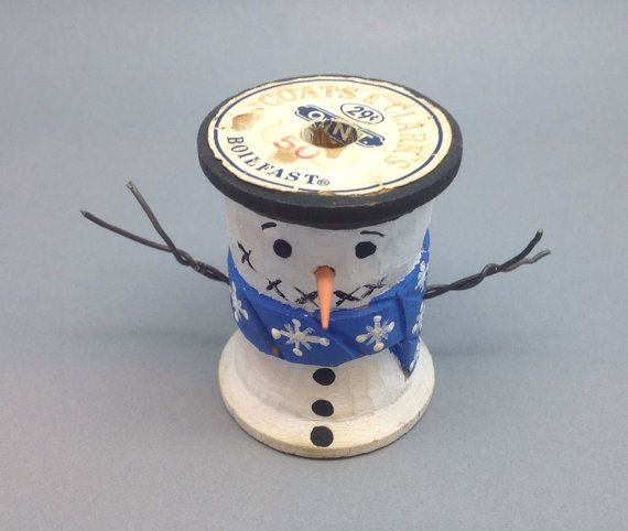 Carved Snowman Thread Spool Wooden Snowmen by Snowpondprimitives