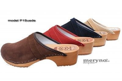 Women Clogs Wooden sole leather P1 suede