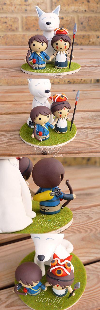 Studio Ghibli Princess Mononoke and Prince Ashitaka wedding cake topper by GenefyPlayground  https://www.facebook.com/genefyplayground