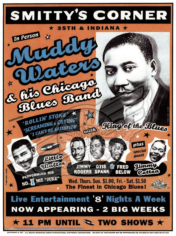 Little Walter Posters | Walter went on to tour with Muddy's band and record with it as well, mostly for Chess Records, the immigrant dream of two Polish brothers who had renamed themselves Chess, Leonard and Phil.