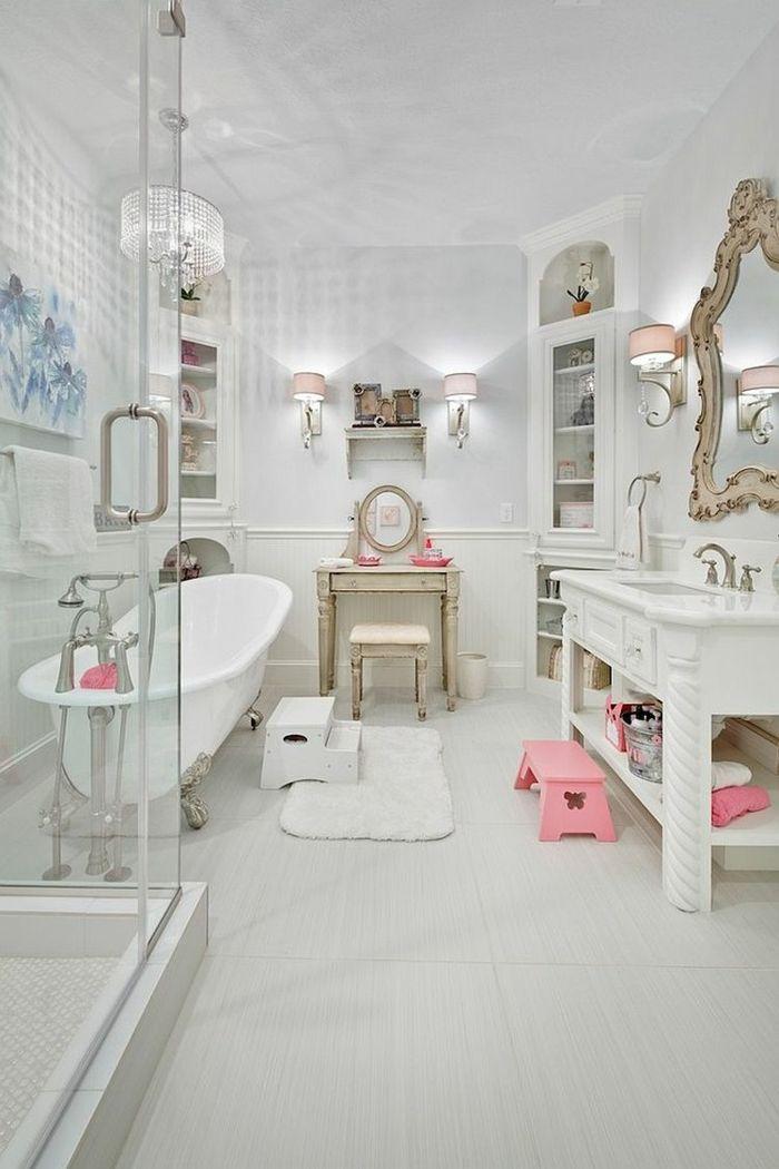 Badezimmer Shabby Chic Badeinrichtung Weiß Rosa Akzente Duschkabine