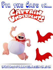 Pin the cape on Captain Underpants - free printable party game