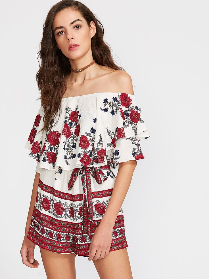 Shop Multicolor Flower Print Ruffle Off The Shoulder Belted Romper online. SheIn offers Multicolor Flower Print Ruffle Off The Shoulder Belted Romper & more to fit your fashionable needs.