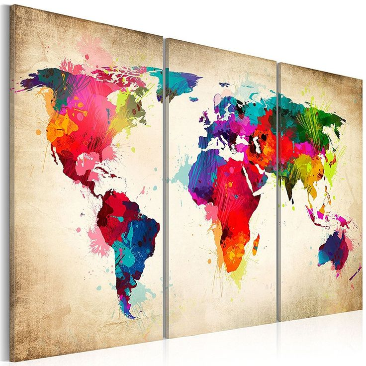 GOUPSKY Watercolor World Map Wall Art Poster Colorful Red and Blue Painting Travel Artwork Home Decor 3 Pieces