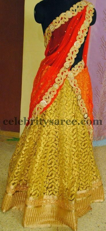 Gold Work Organza Half Saree | Saree Blouse Patterns