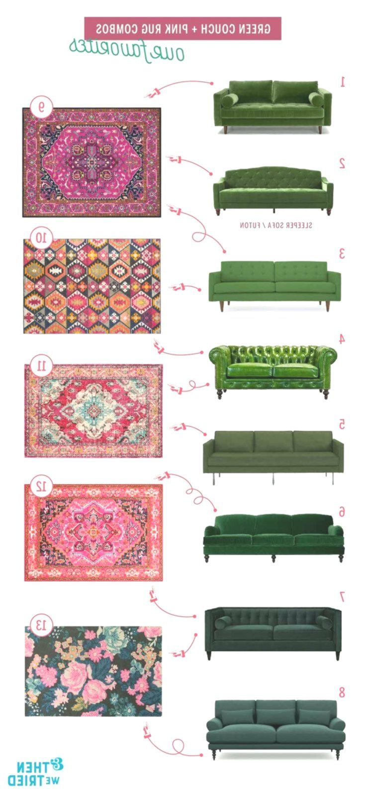 Perfekte grüne Couch und rosa Teppichpaarungen für ein