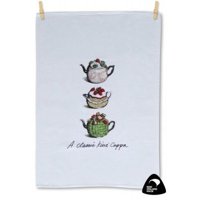 Tea towel A Classic Kiwi Cuppa. Who can remember the quirky tea cosies often knitted or crocheted from leftover wool scraps? An image of a bygone era or perhaps a memory of old times around a teapot with a classic Kiwi cuppa. Reminisce with this quality 100% cotton tea towel genuinely made in New Zealand. Matching apron available.   See more at www.entirelynz.co.nz/gifts