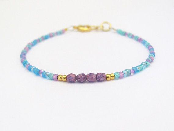 Púrpura pulsera Seed Bead Bracelet pulsera amistad pulsera