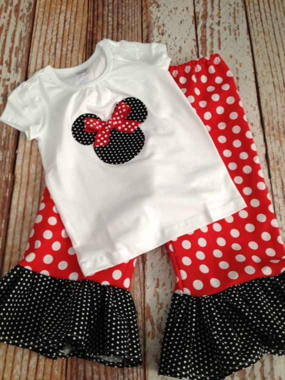 Minnie Mouse Inspired Ruffle Pants Outfit - Baby Girl/ Toddler Girl - Sizes 12M thru 4T available - Minnie Mouse Birthday, Disney Vacation