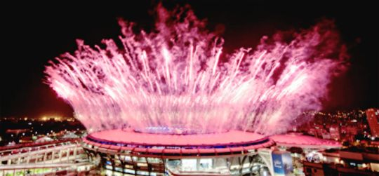 """An array of colors seen during the 2016 Summer Olympics Opening Ceremony at…"