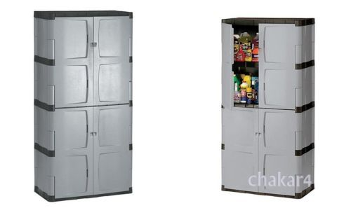 72-Tall-Resin-Utility-Storage-Cabinet-w-Full-Double-Lockable-Door-4-Shelves
