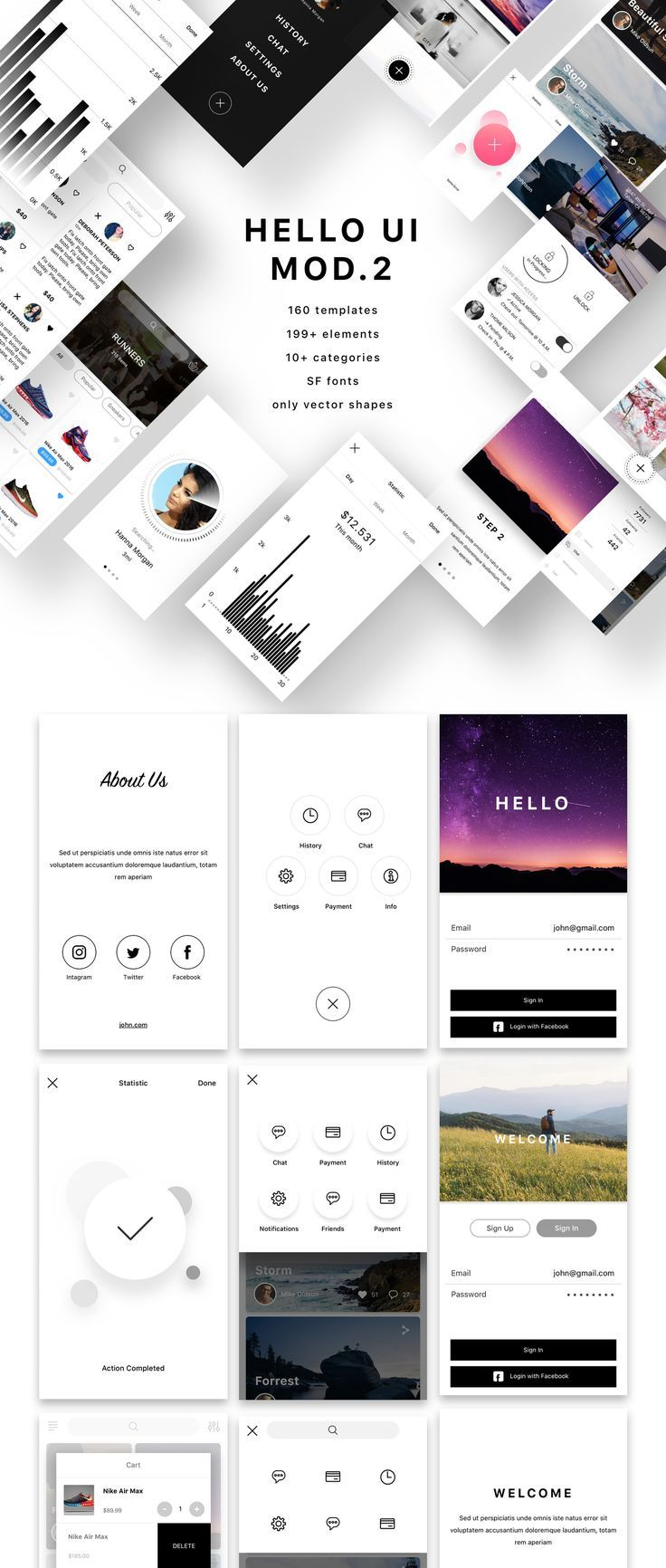 Heeeeey, Hello UI Kit Mod. 2! This mobile UI Kit kit includes more than 160…. If you like UX, design, or design thinking, check out theuxblog.c