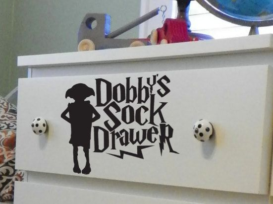 Make a box for the ones the dryer failed to eat.Dobby Socks, Harrypotter, Kids Room, Decals, Socks Drawers, Dressers, Theme Room, Harry Potter Room, Laundry Room