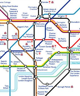 London Just Did A Great Thing For Tourists| tube map that names sights instead of stations (with the exception of Piccadilly Circus and Leicester Square) #travel #london