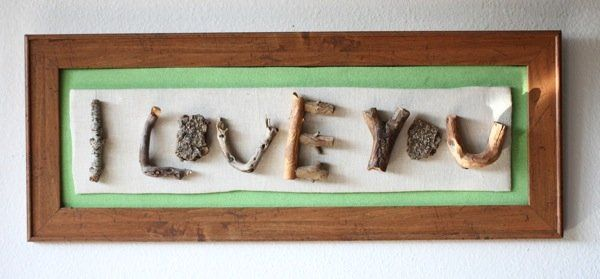 recycled wood hiking art trashy crafter I Love You (twig art) in wood art  with recycled art natural home decor hiking camping Art