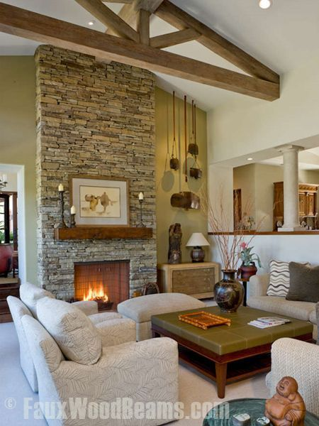164 best images about design ideas ceilings on pinterest - Wood beams in living room ...