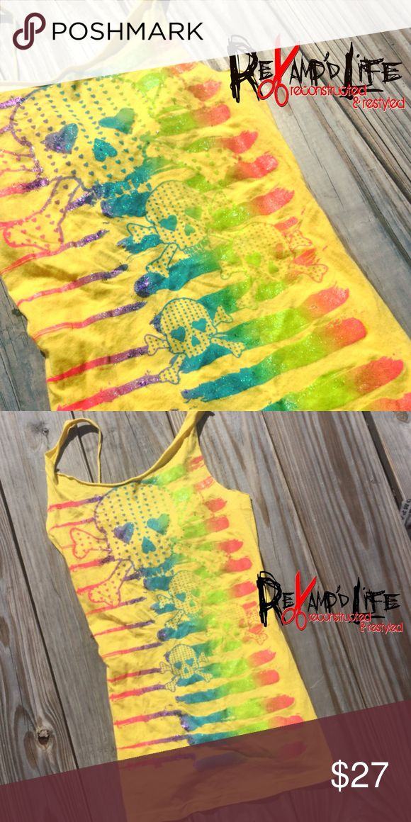 SUN & SKULL • bright neon sparkle glitter tanktop •••☠️ BUNDLE & SAVE ☠️ DM ME TO BUNDLE! ☠️ WILL CONSIDER *ALL* REASONABLE OFFERS!  SUN AND SKULL • this bright and stretchy yellow skull tank is extra sparkly. All sorts of bright colors. Lightweight & comfortable.  Size medium  #yellow #sparkle #bling #colorful #bright #stretchy #skull #halloween #summer #neon #tanktop #tank #casual #diy #cutup #cut #handmade #custom #customclothing #rave #raver #ravegirl #iheartraves #edm #edc #festival…
