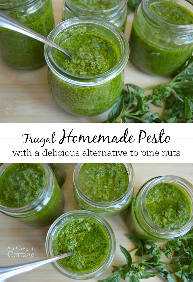 Frugal (aka, cheap) Homemade Pesto with an alternative to pine nuts (that we like even better), plus tips for freezing.