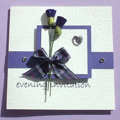 Scottish Wedding Invitation Tartan Thistles Purple /Any