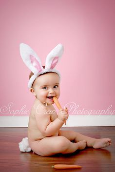 Easter bunny baby with carrot