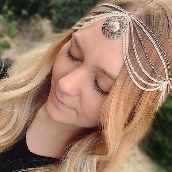 Photo shoot featuring our handmade two tone Xena head chain.  Beautiful model is Rachelle